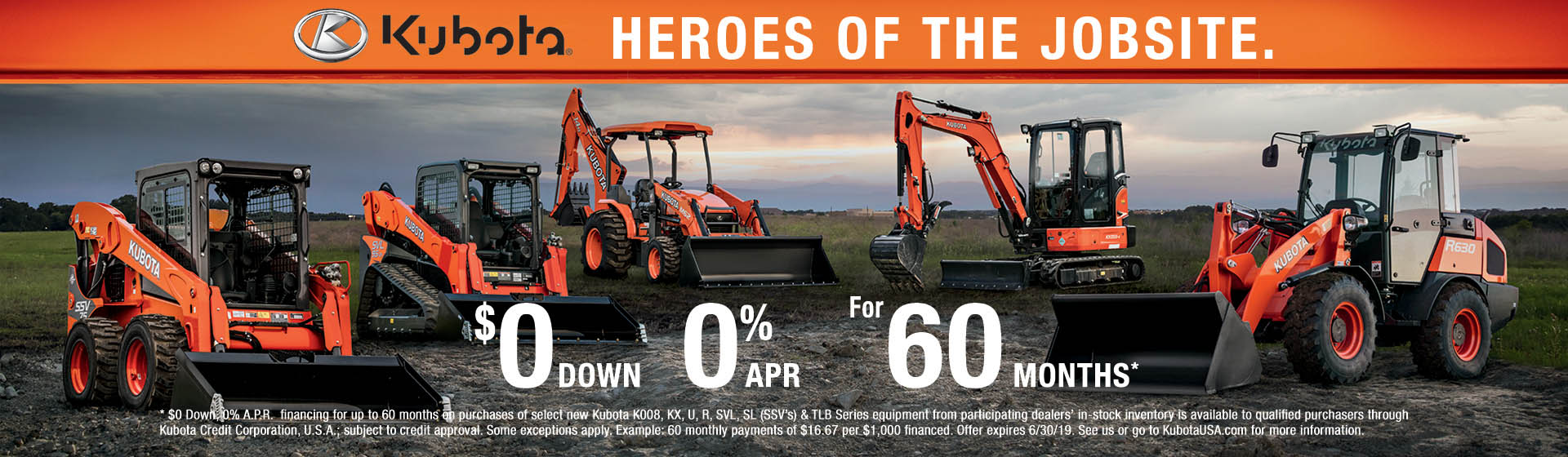 Kubota construction - $0 down 0% apr for 60 months