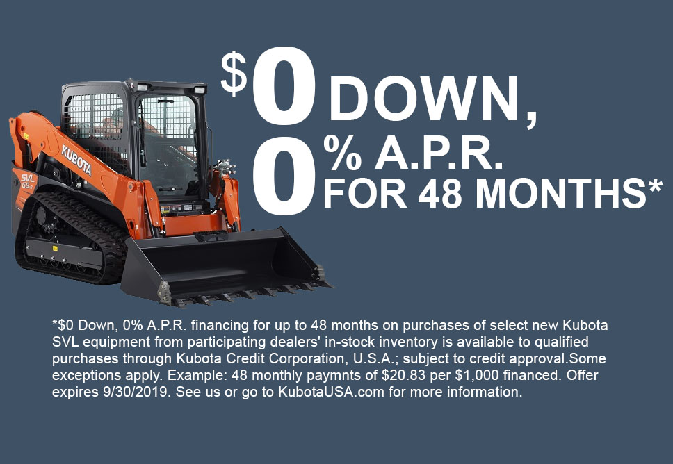 Kubota construction - $0 down 0% for 48 months